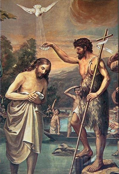 洗者聖ヨハネから洗礼を受けるイエズス様