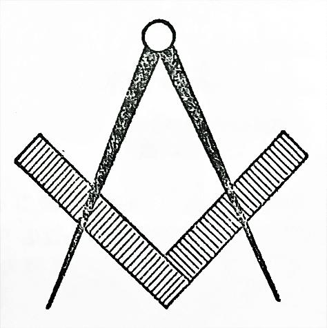 定規とコンパスのフリーメイソンシンボル